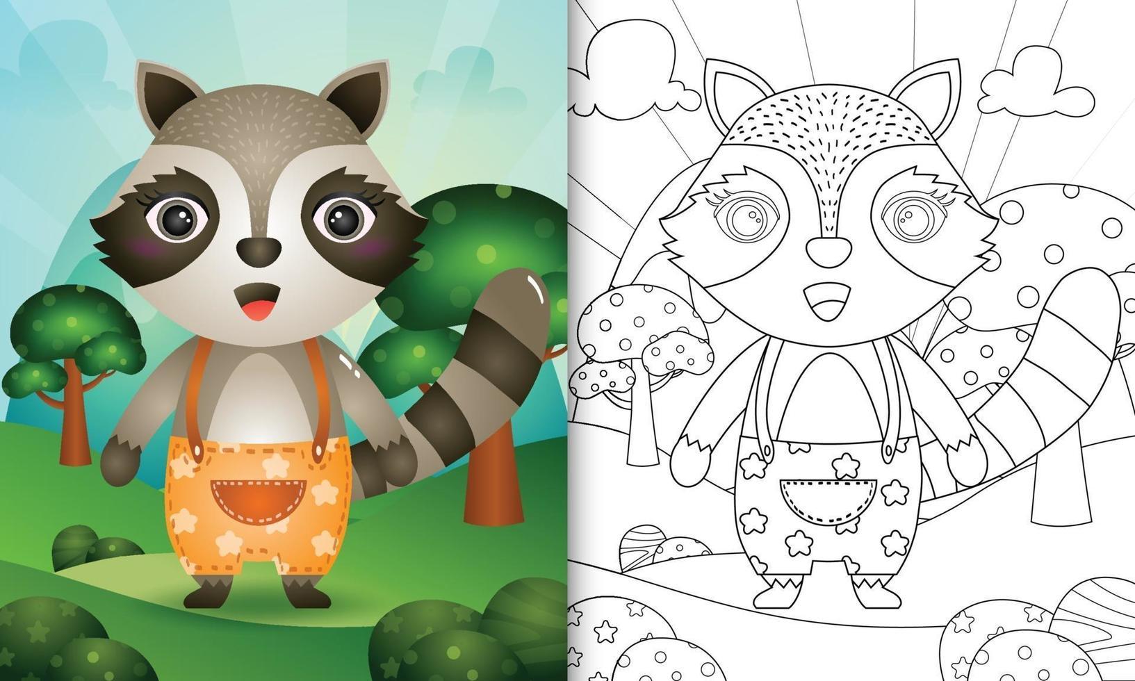 modello di libro da colorare per bambini con un simpatico personaggio di procione illustratio vettore