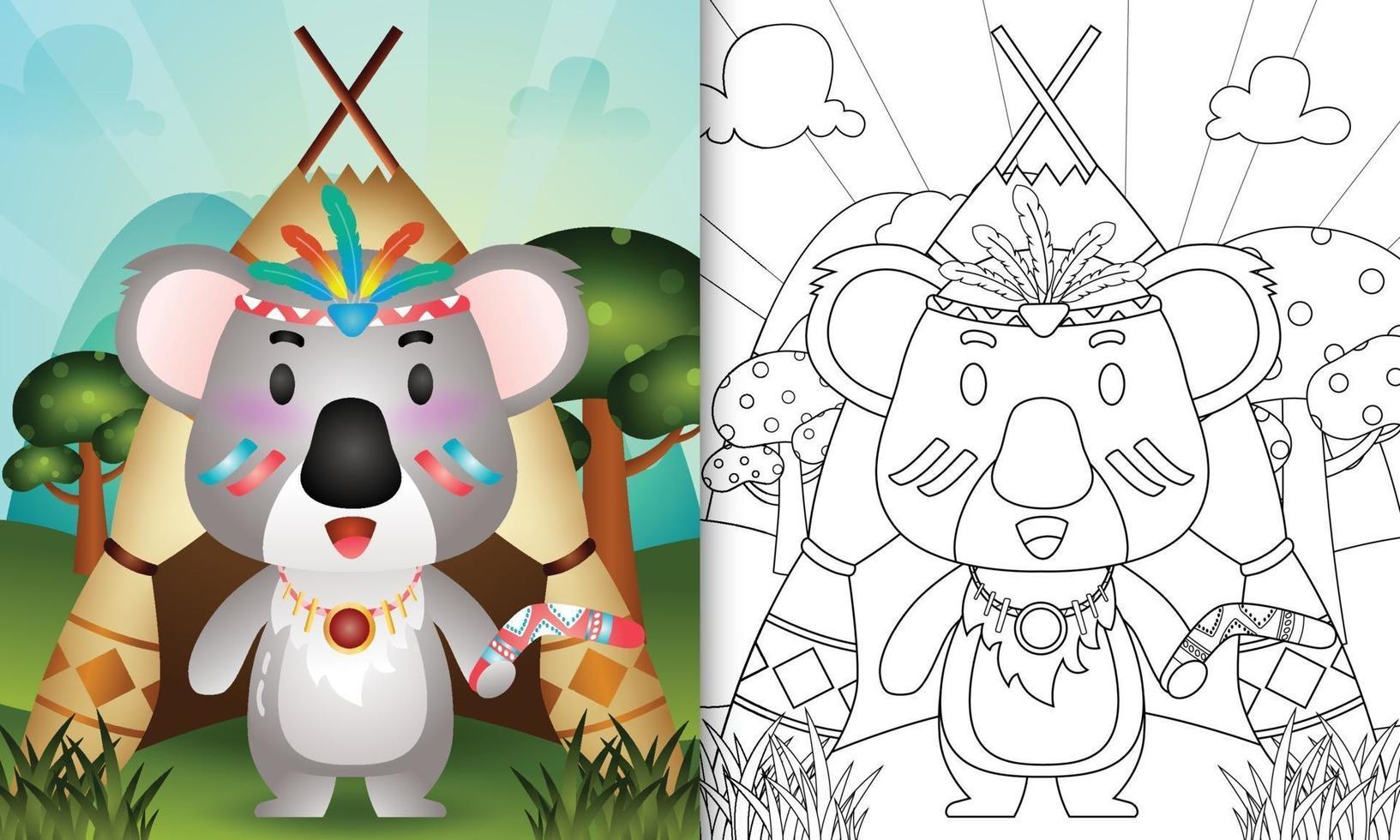 modello di libro da colorare per bambini con un simpatico personaggio tribale boho koala illustrazione vettore