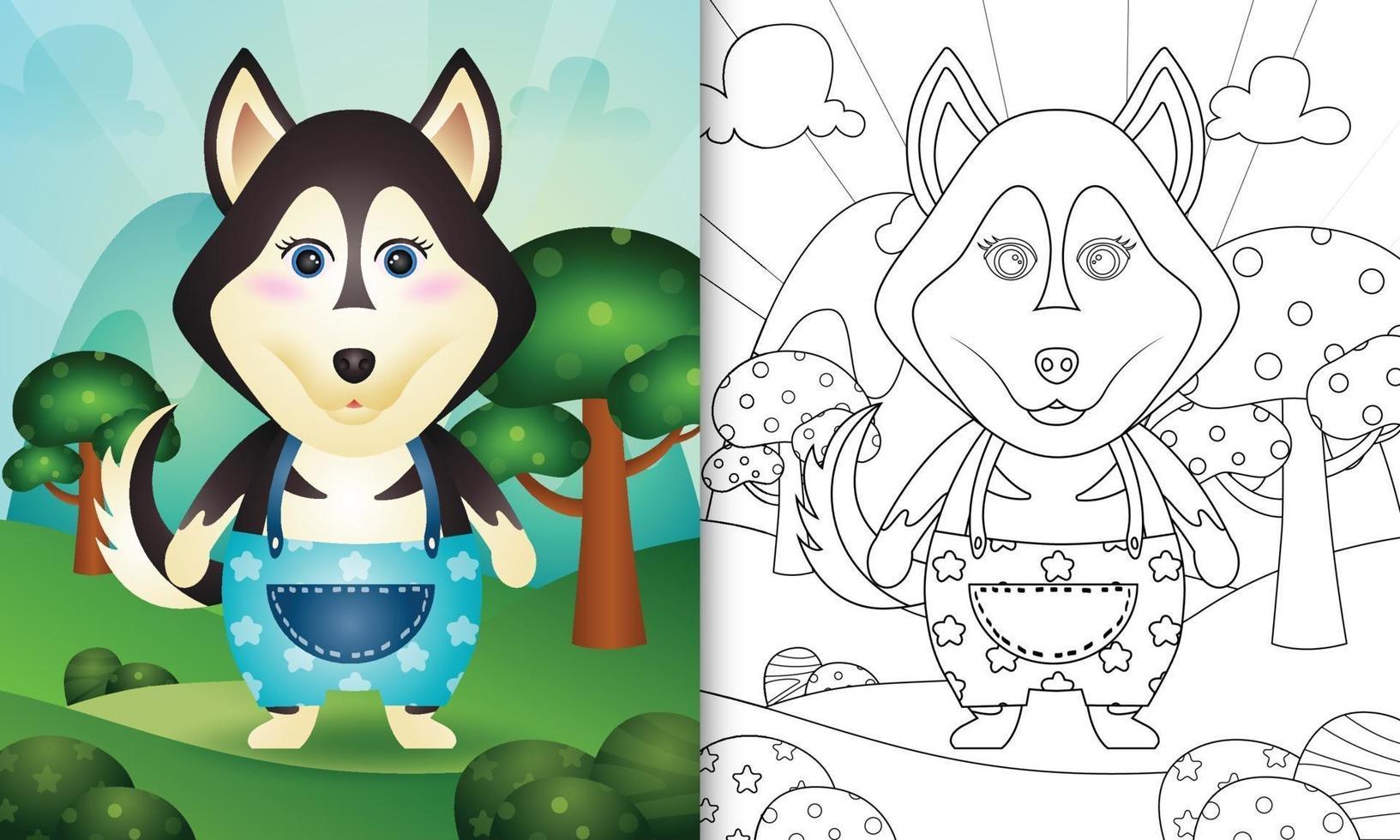 modello di libro da colorare per bambini con un simpatico personaggio di cane husky vettore