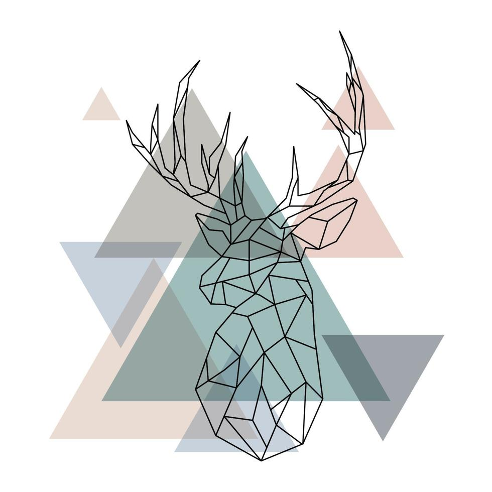illustrazione geometrica della renna. vettore