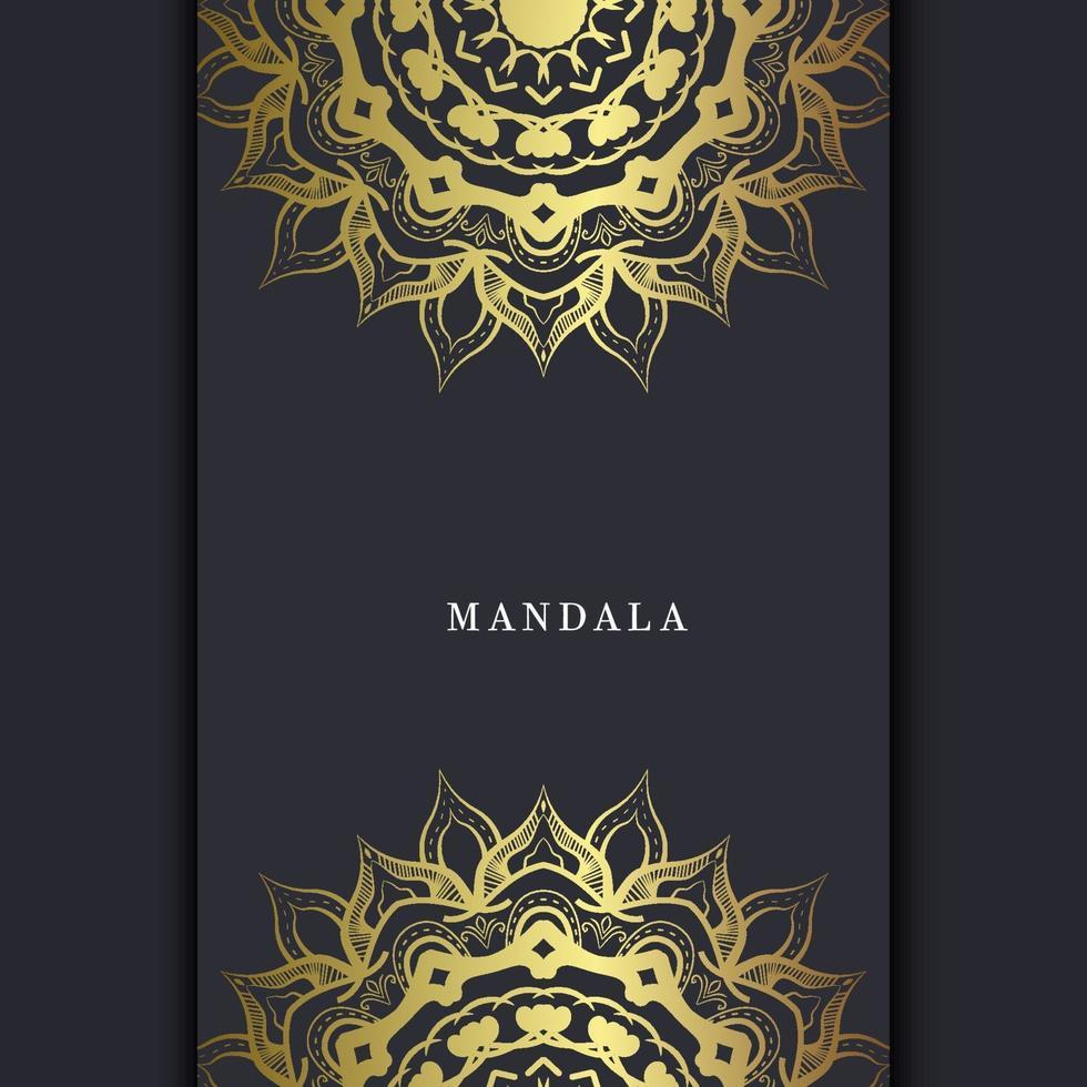 sfondo ornato mandala oro di lusso per invito a nozze, copertina del libro con stile elemento mandala vettore Premium
