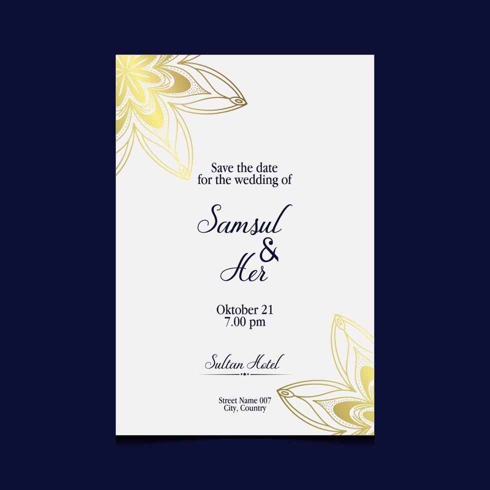 modello di mandala con elementi eleganti e classici. ottimo per invito, flyer, menu, brochure, sfondo vettore Premium
