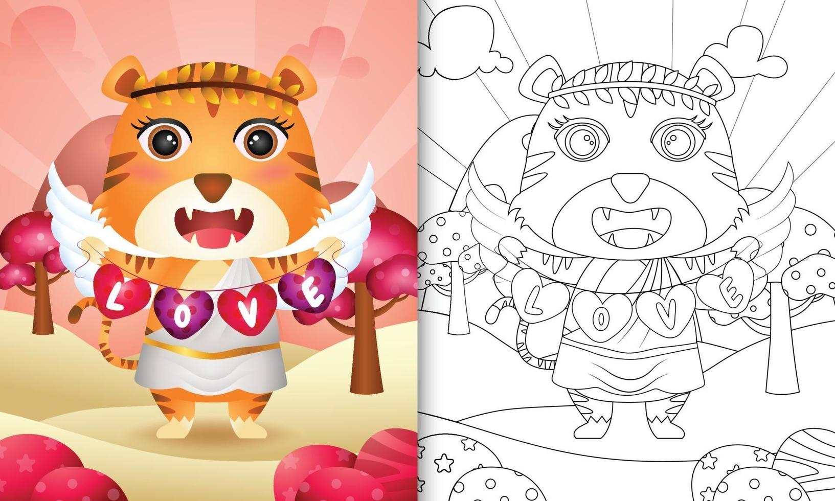 libro da colorare per bambini con un simpatico angelo tigre che usa il costume da cupido con la bandiera a forma di cuore vettore