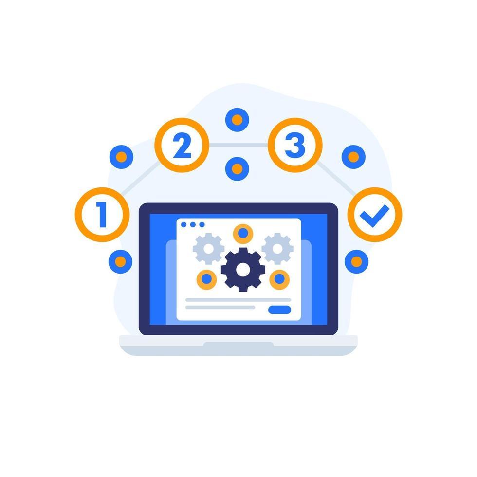 icona di vettore di esecuzione del progetto con il computer portatile