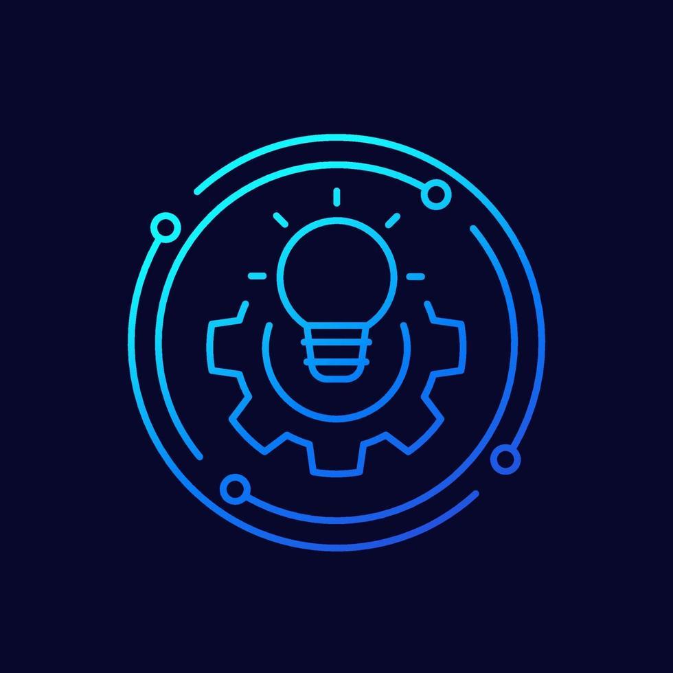 icona della linea di soluzione con lampadina vettore