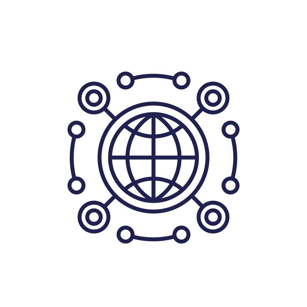 icona della linea API di rete su bianco vettore