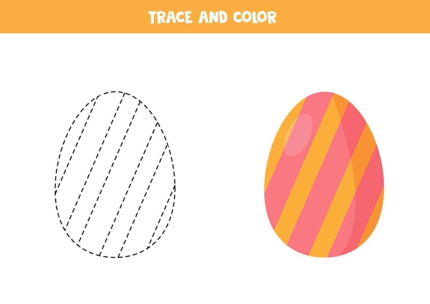 traccia e colora l'uovo di Pasqua del fumetto. foglio di lavoro divertente per pasqua. vettore