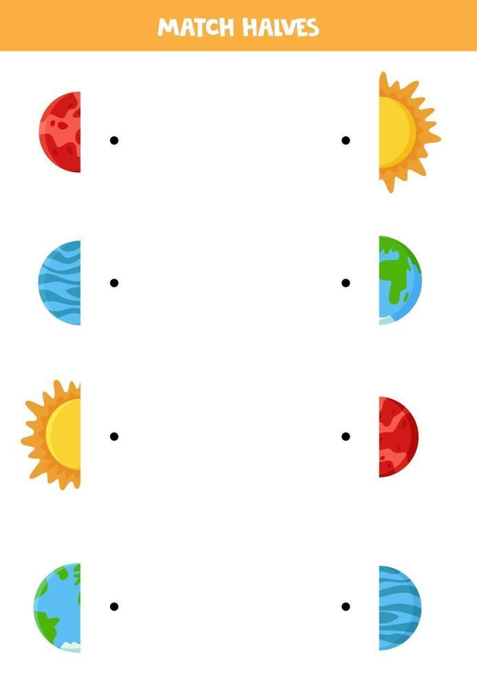 abbina le metà del pianeta del sistema solare e del sole. gioco logico per bambini. vettore