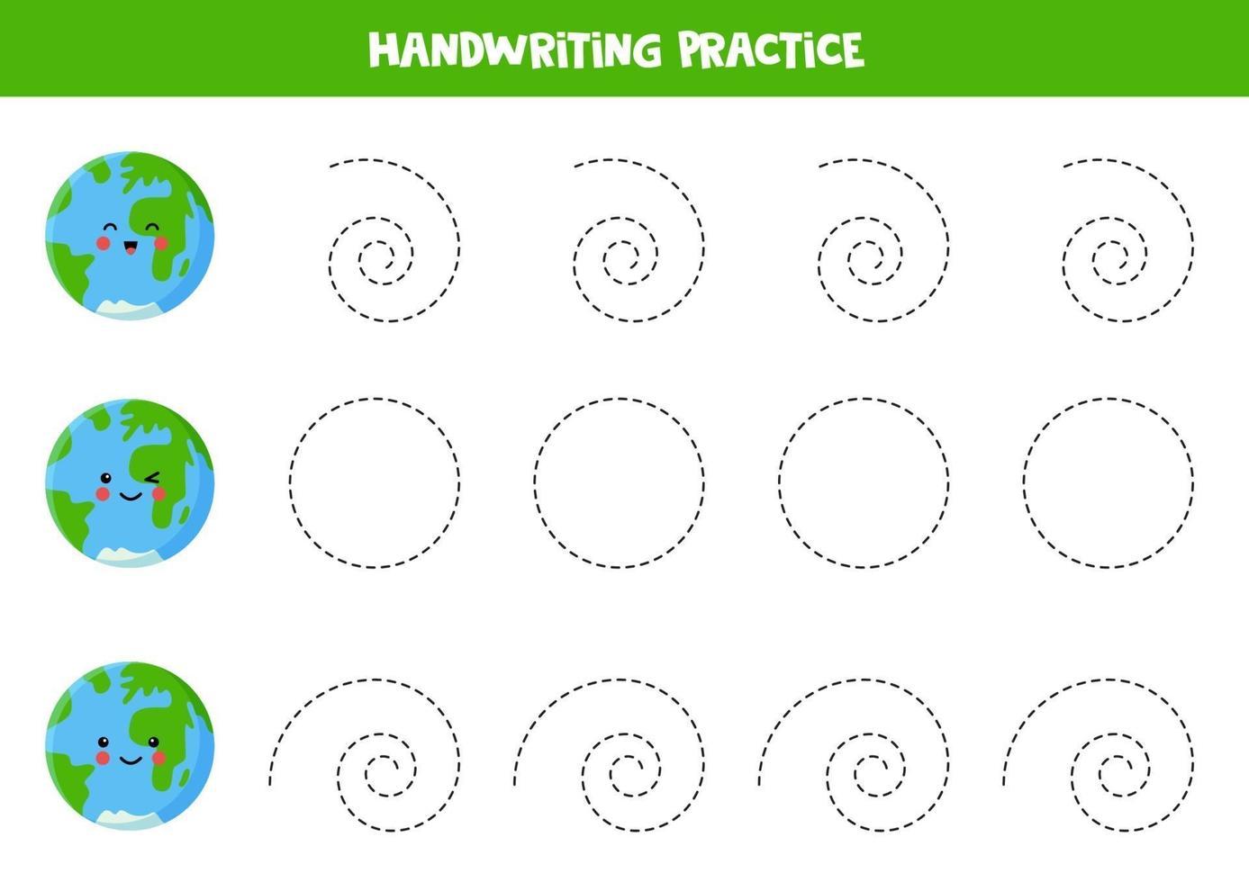 traccia le linee con la terra dei cartoni animati. pratica di abilità di scrittura. vettore