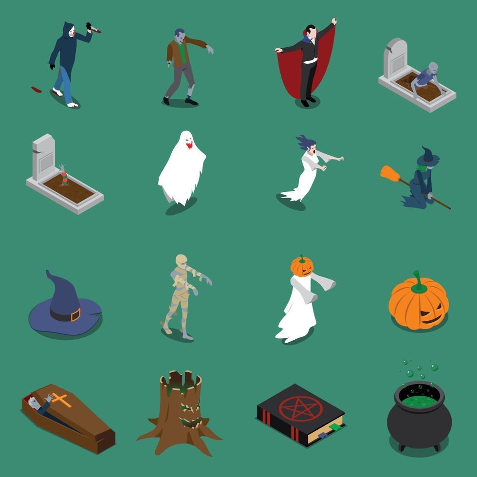 mostro icone isometriche di halloween vettore