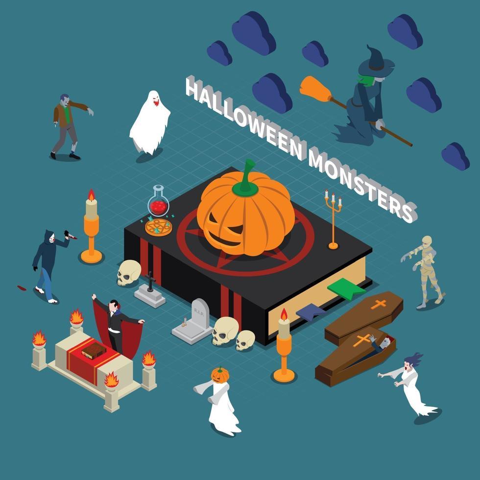 composizione isometrica di halloween mostro vettore