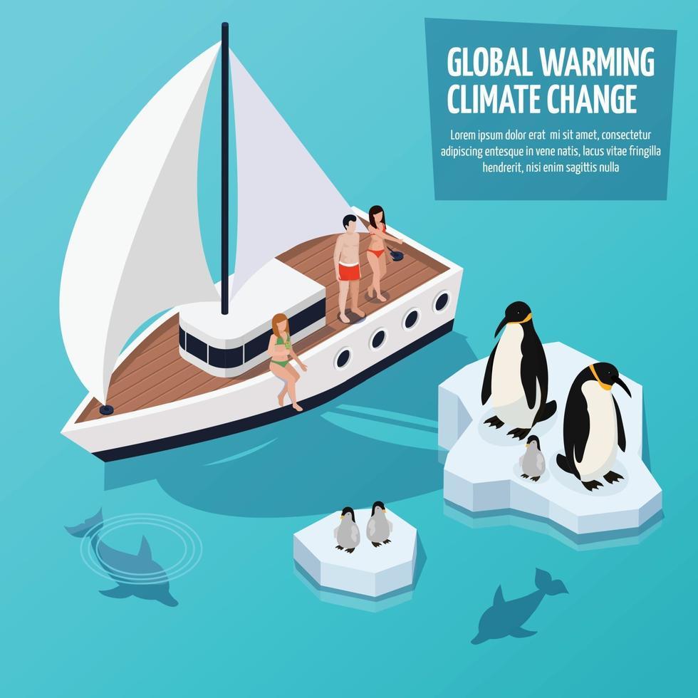riscaldamento globale isometrico vettore