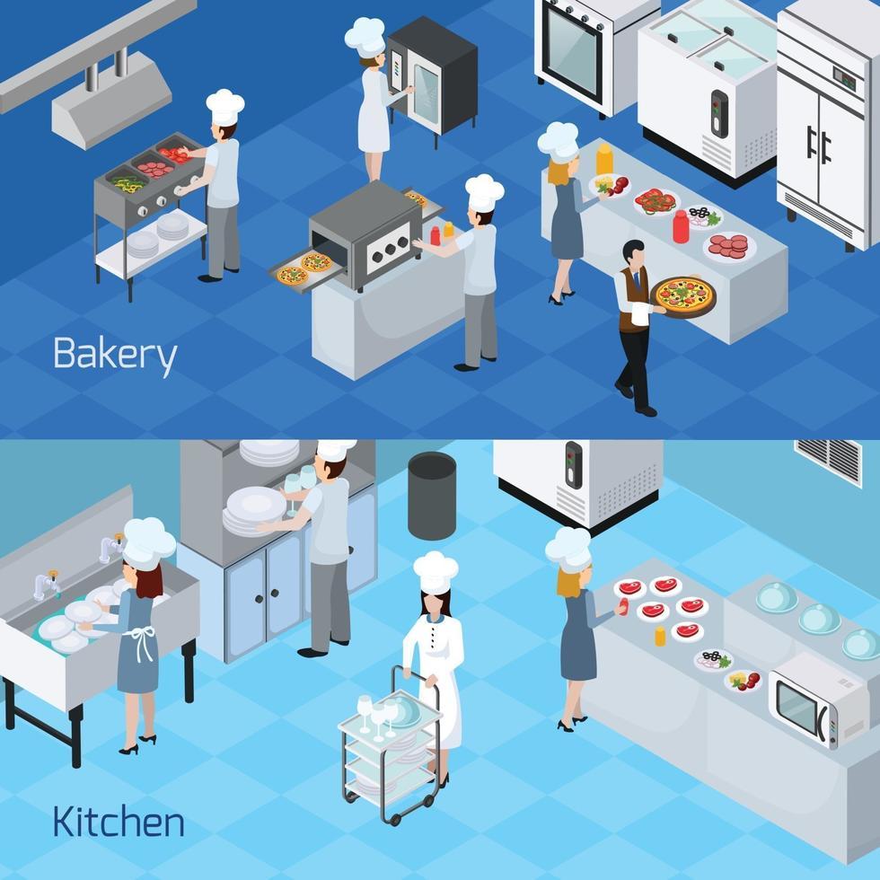 banner orizzontale per interni di cucine professionali vettore