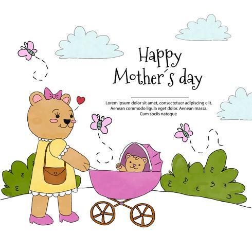 Carino mamma orso con carrozzina con Baby Bear all'interno vettore