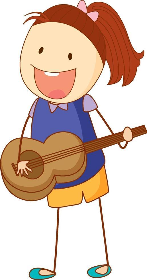 un bambino scarabocchio che suona un personaggio dei cartoni animati di chitarra acustica isolato vettore