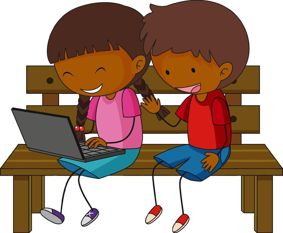 un doodle kids utilizzando laptop personaggio dei cartoni animati isolato vettore