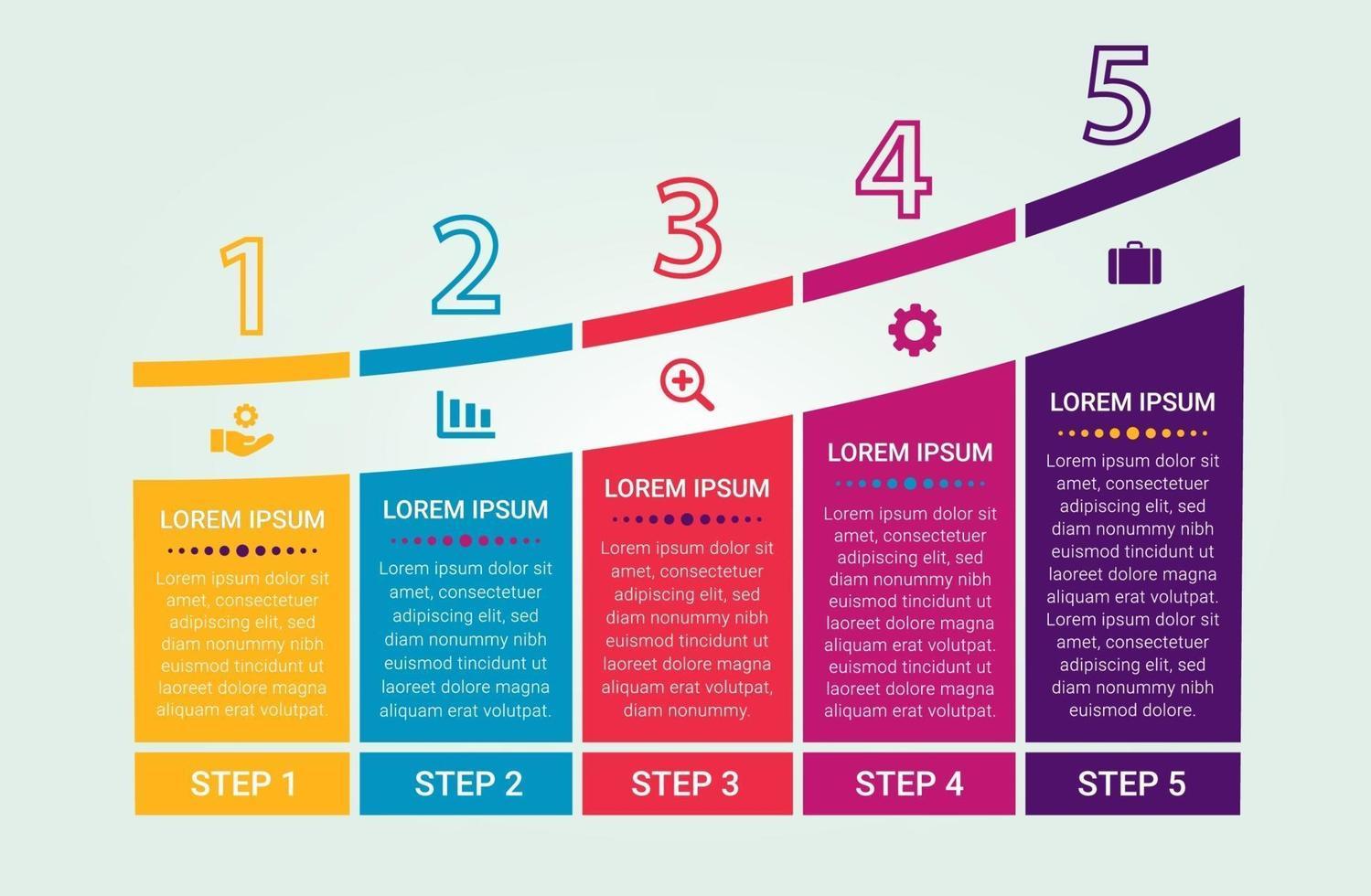 grafico di processo infografica con cinque opzioni vettore
