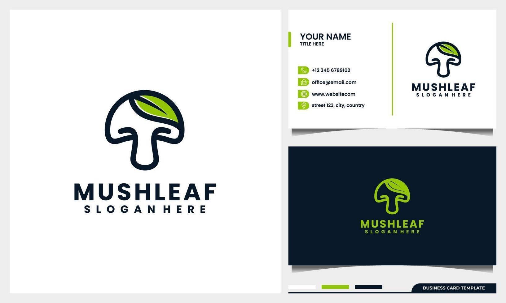 fungo di arte di linea con il concetto di logo di foglia di natura e modello di biglietto da visita vettore