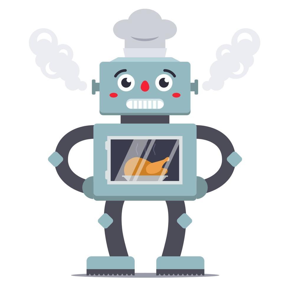 robot cuoco cucina pollo nel forno. aiuto domestico. illustrazione piatta carattere vettoriale
