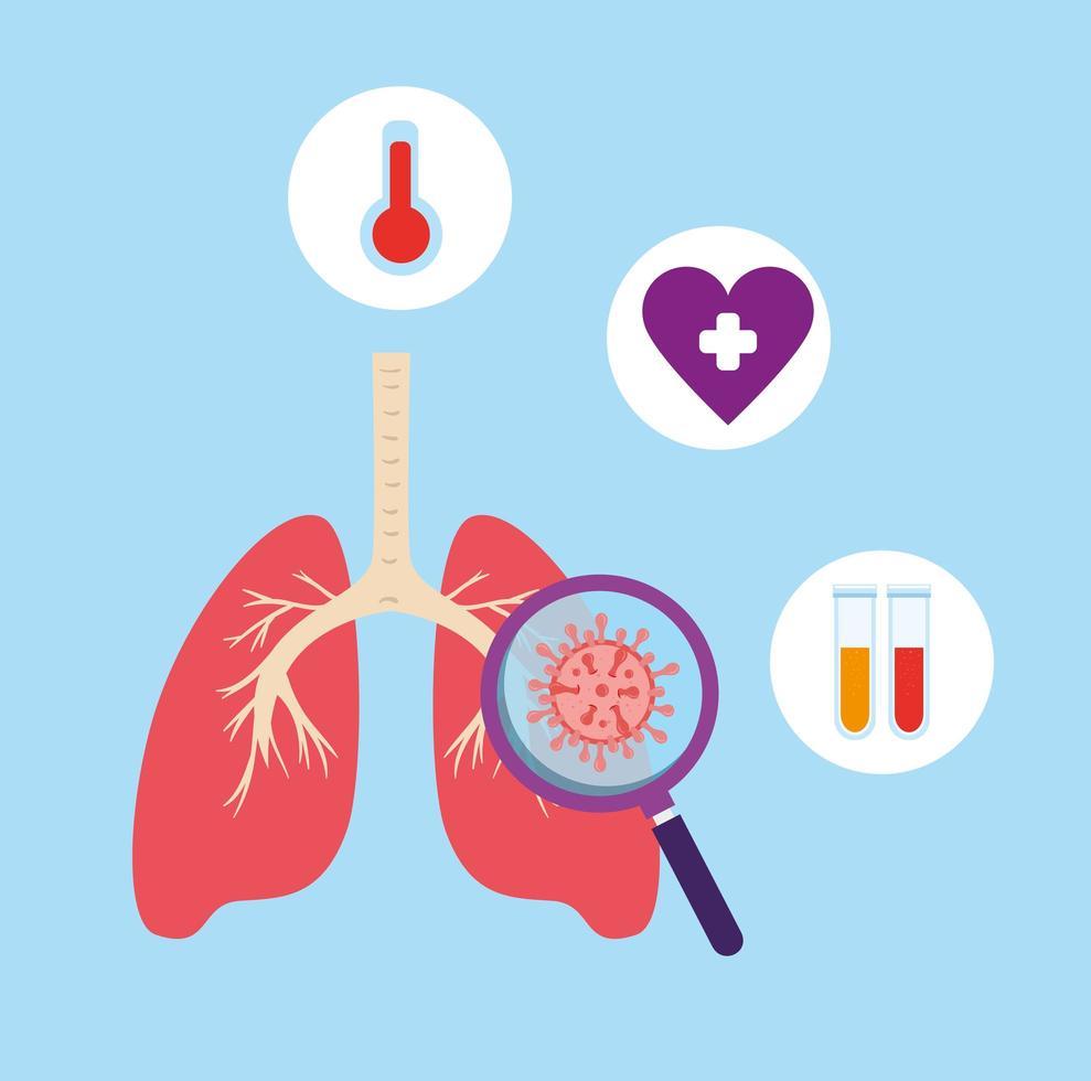 polmoni con 19 icone covide vettore