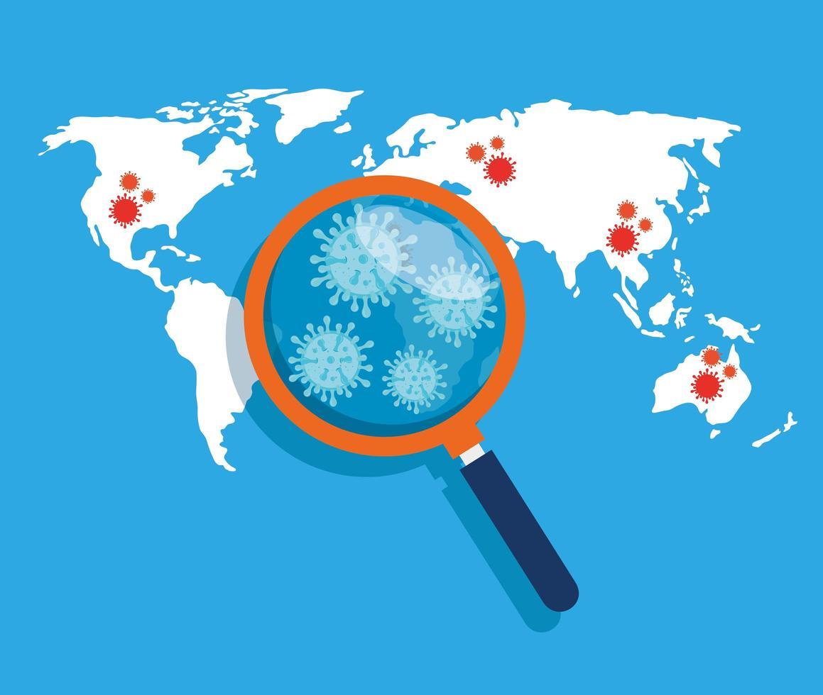 mappa del mondo con covid 19 posizione della malattia vettore