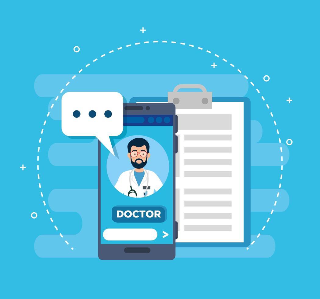 medico tecnologia online con smartphone e icone vettore