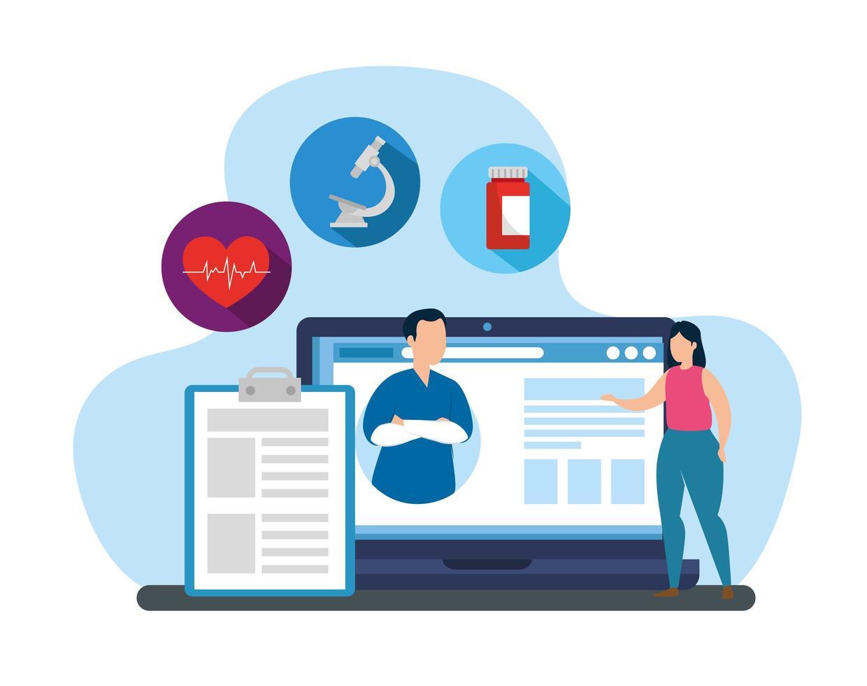 tecnologia online di medicina con laptop e icone vettore