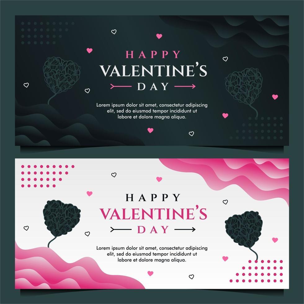 felice modello di banner di san valentino con sfondo scuro e grigio vettore
