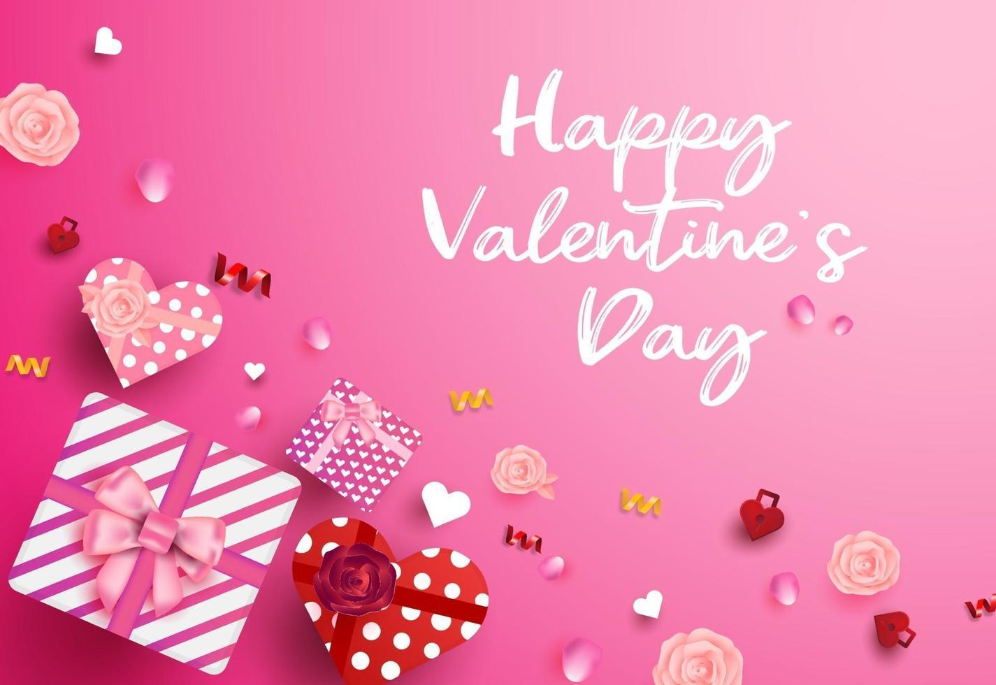 felice banner di vendita di san valentino, poster con scatola regalo vista dall'alto a forma di cuore vettore