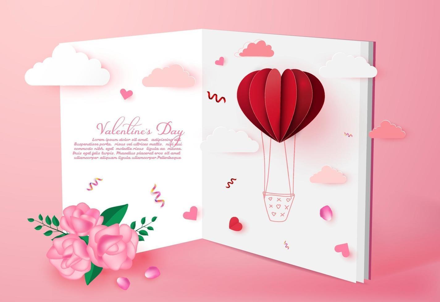 San Valentino amore sfondo carta di invito con origami palloncino a forma di cuore su cloud.paper stile art. vettore