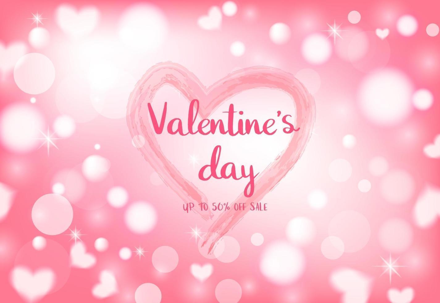 14 febbraio celebrazione di San Valentino su sfondo bokeh di cuore leggero. vettore