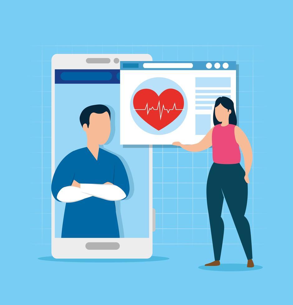 tecnologia online di medicina con donna e pagina web vettore