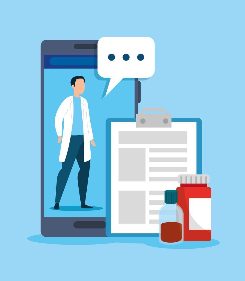 tecnologia online di medicina con smartphone e bottiglia di medicina vettore