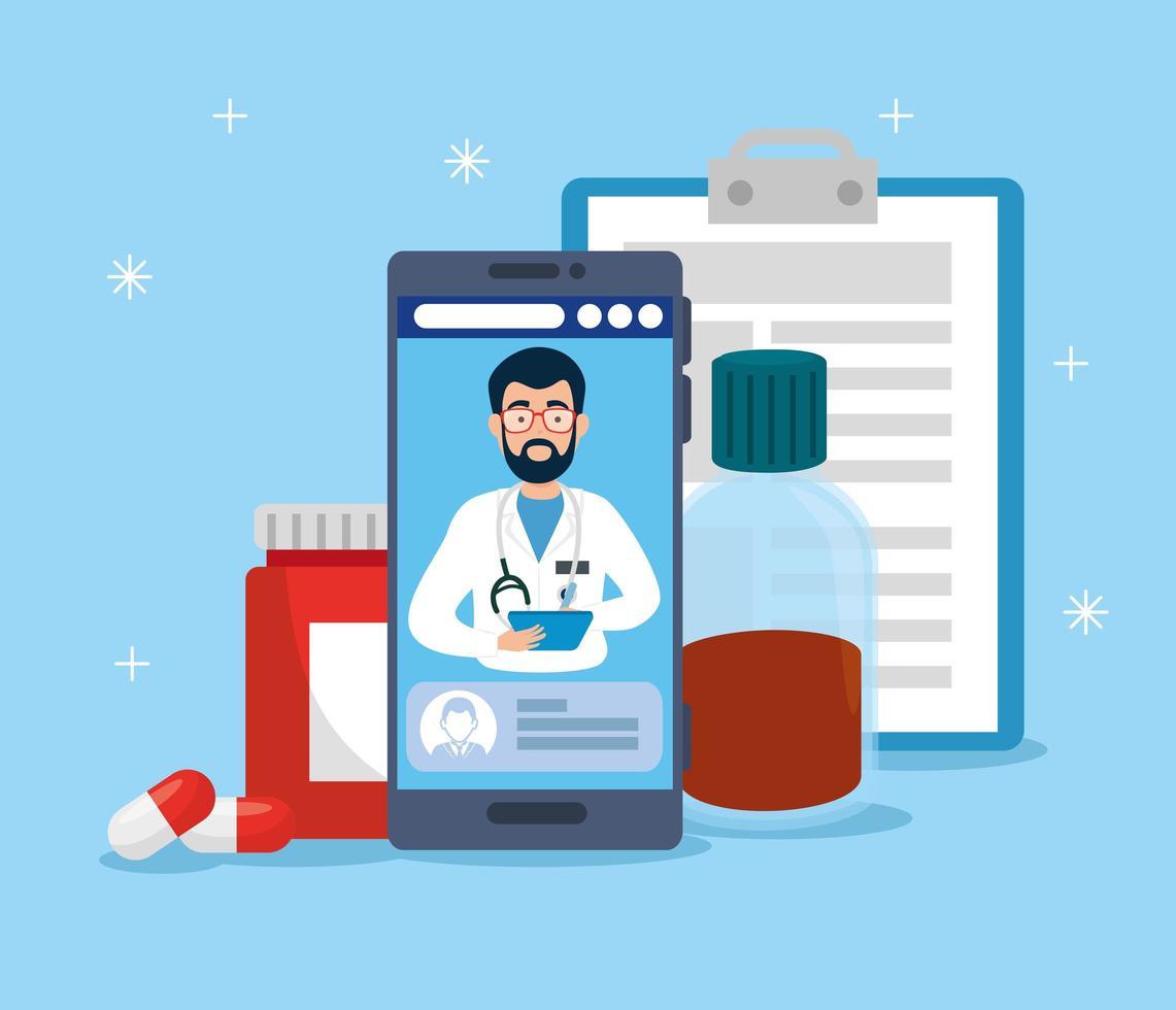 tecnologia online di medicina con smartphone e medicina vettore