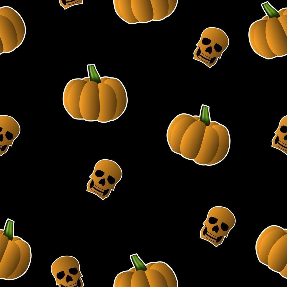 zucche di halloween senza cuciture e tema del cranio vettore