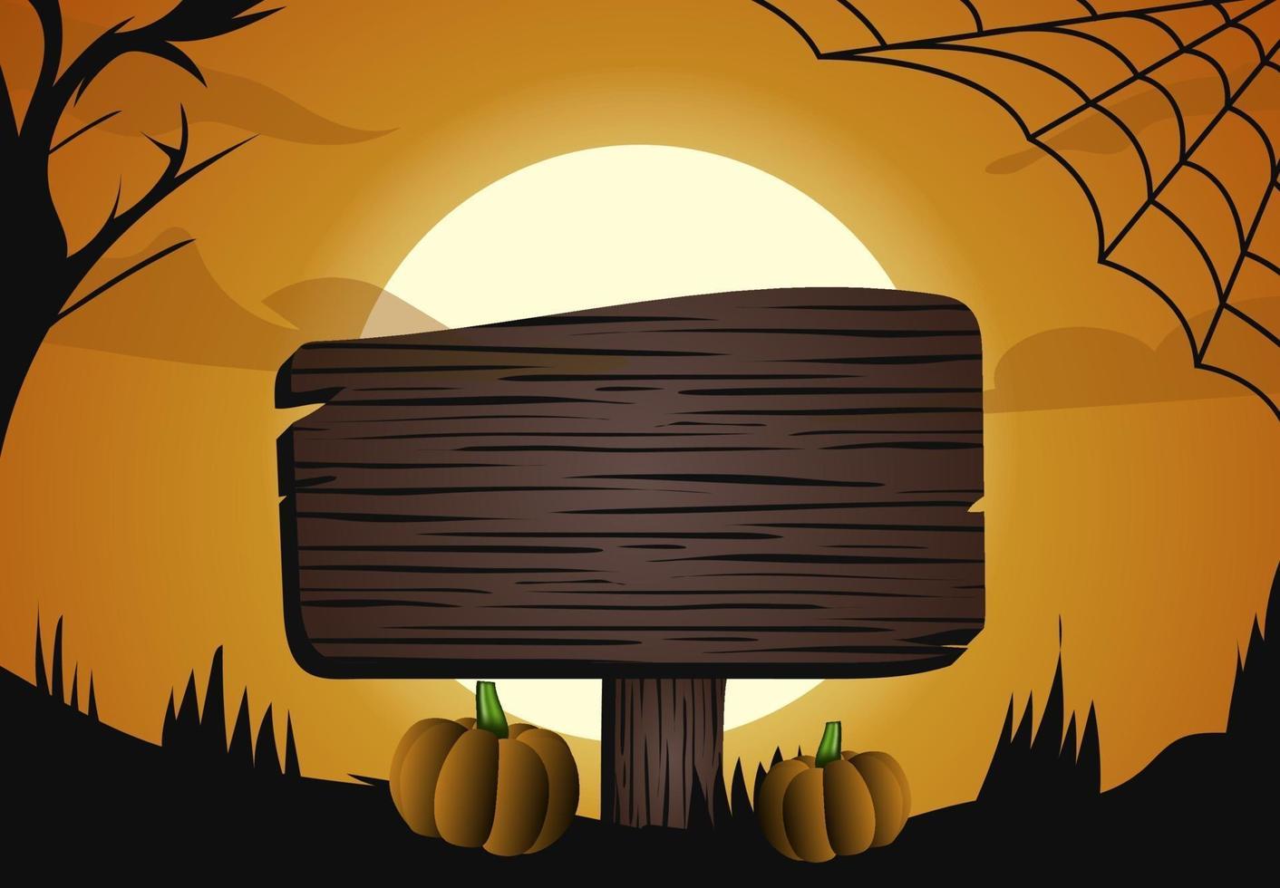 halloween luna oscura luce foresta e design del segno vettore