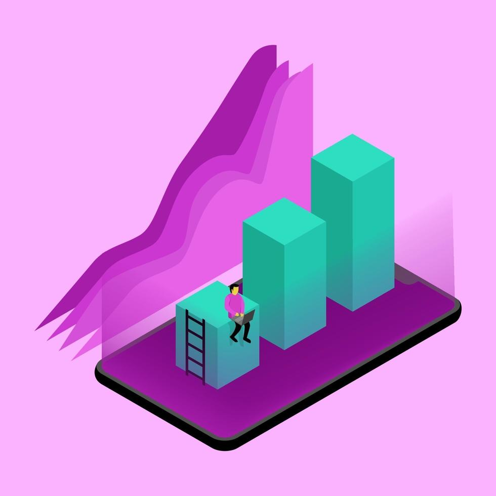 vettore concetto isometrico statistica business cheking a young monitor, concept volume box on smartphone simple design, vector illustration on a work a young sign