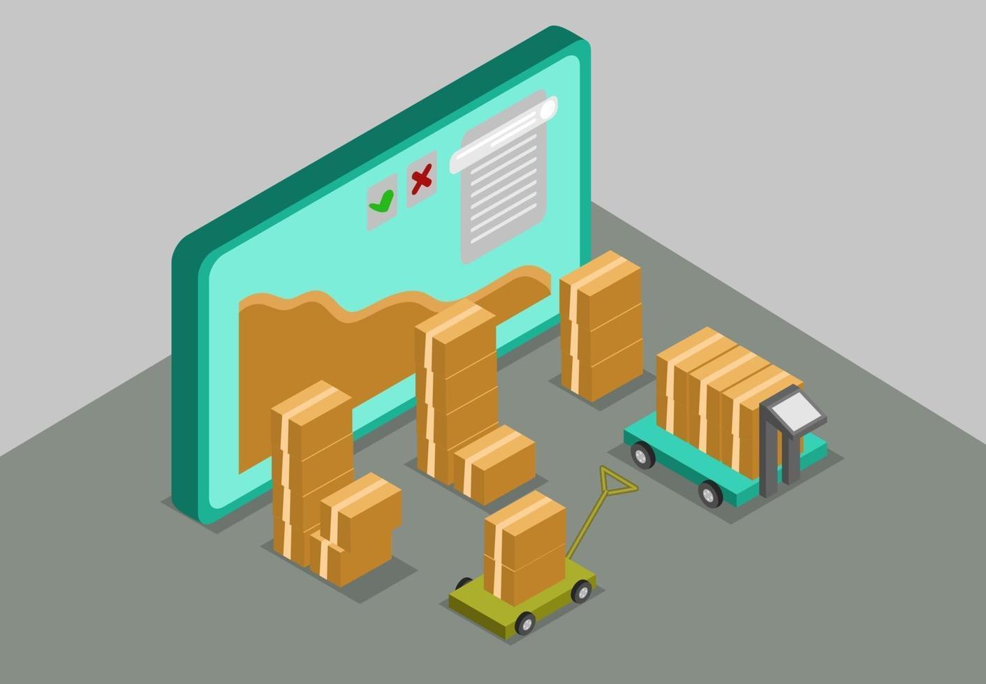 monitorare il concetto di imballaggio del processo isometrico vettore