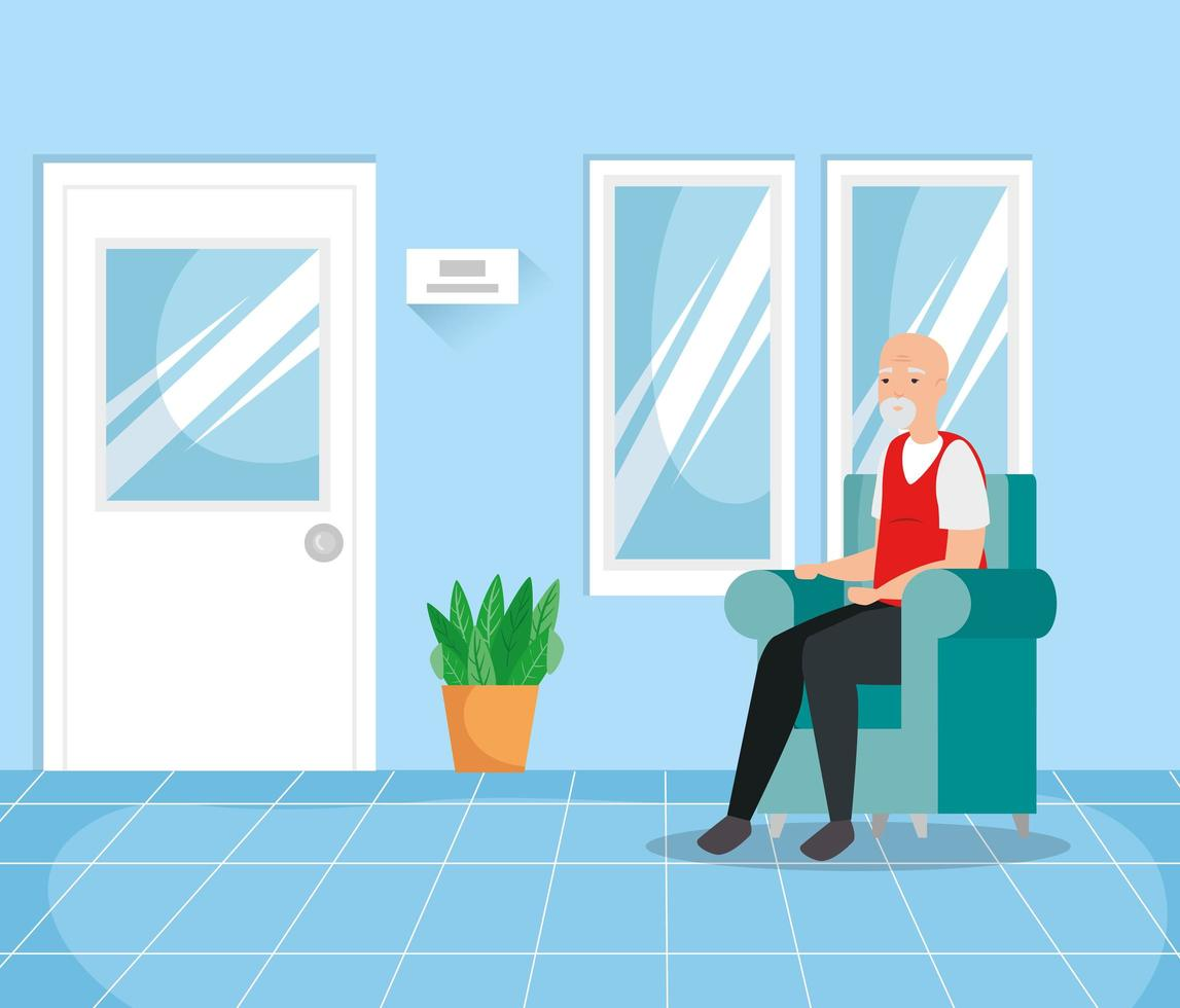 vecchio nella sala d'attesa vettore