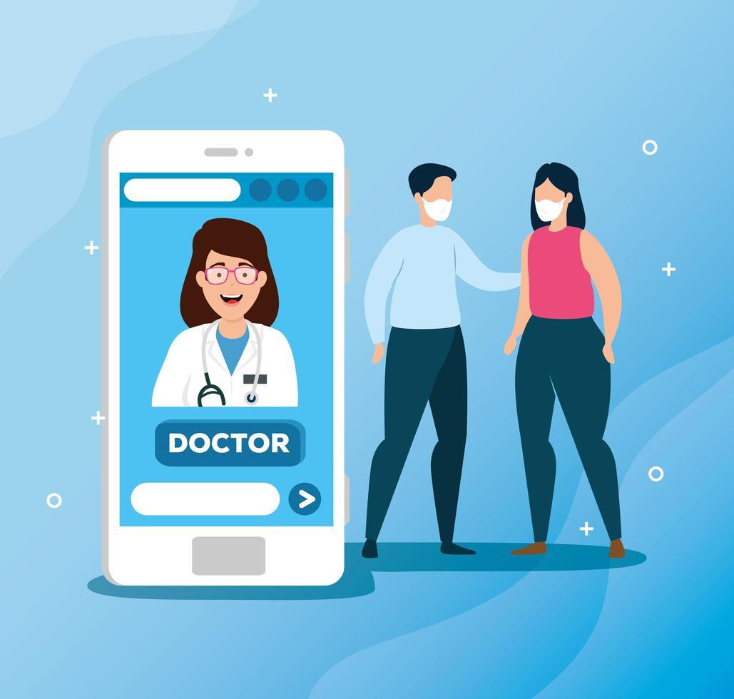 tecnologia online con persone malate vettore