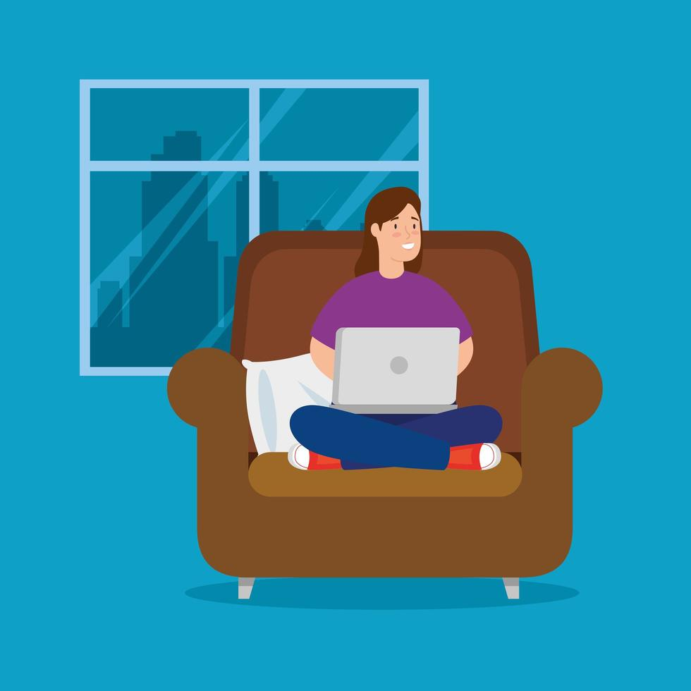 donna che lavora a casa con il computer portatile sul divano vettore