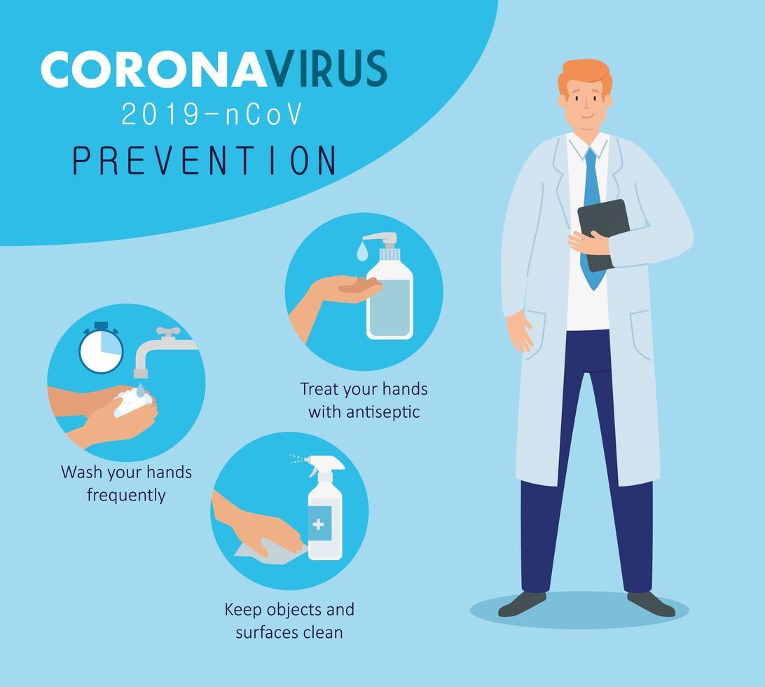 medico maschio per la prevenzione del coronavirus vettore