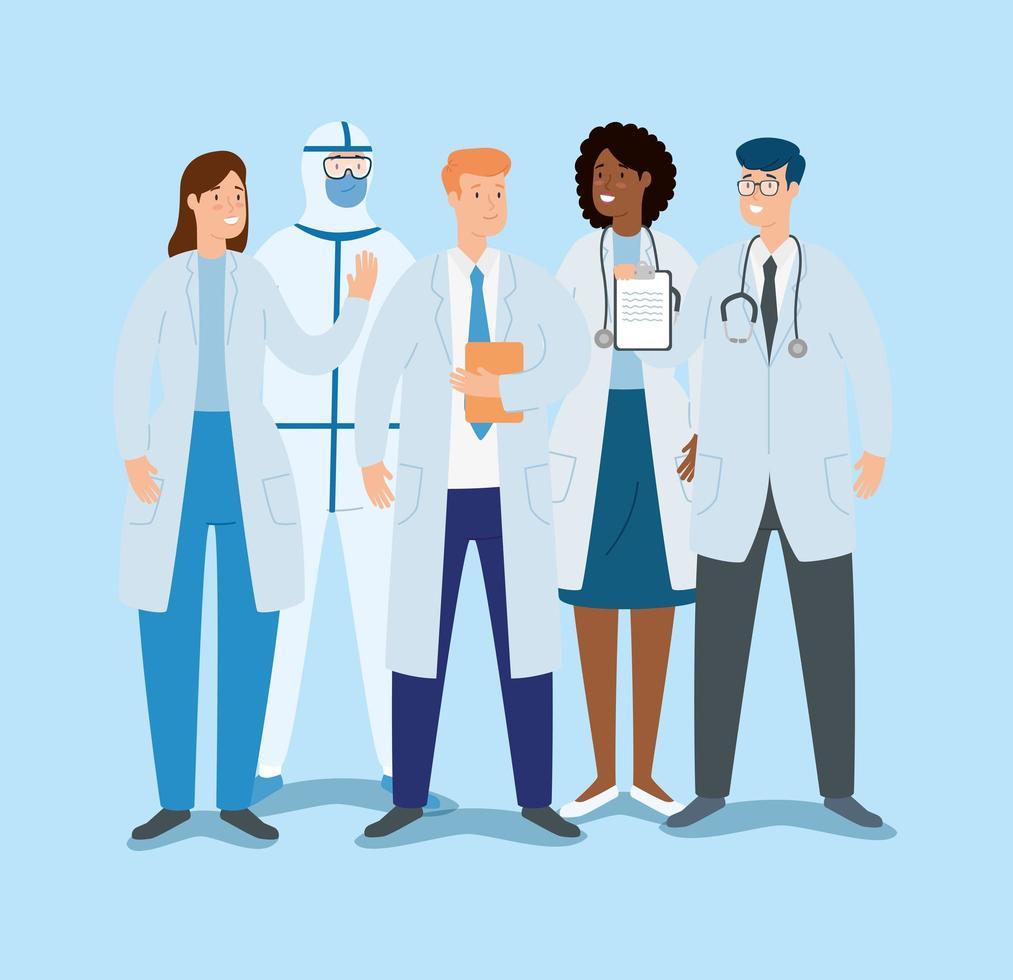gruppo di medici che combattono il coronavirus vettore
