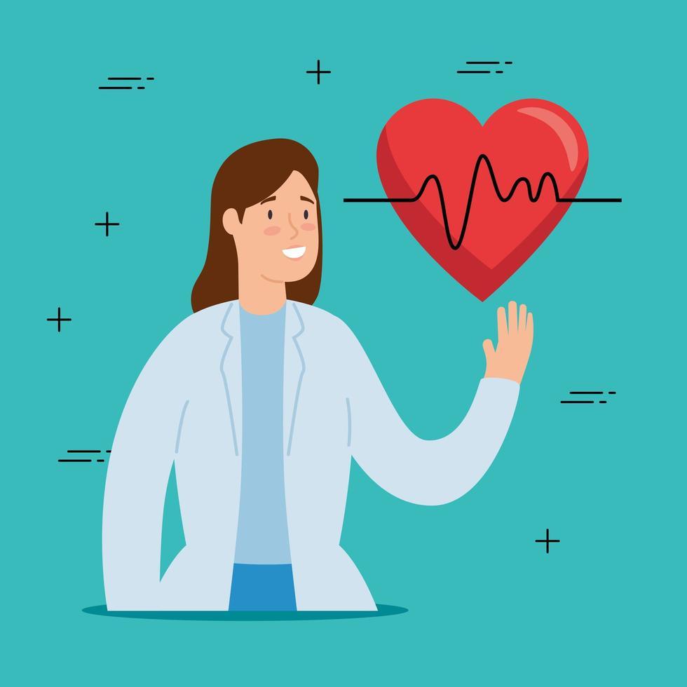 medico e simbolo del cuore vettore