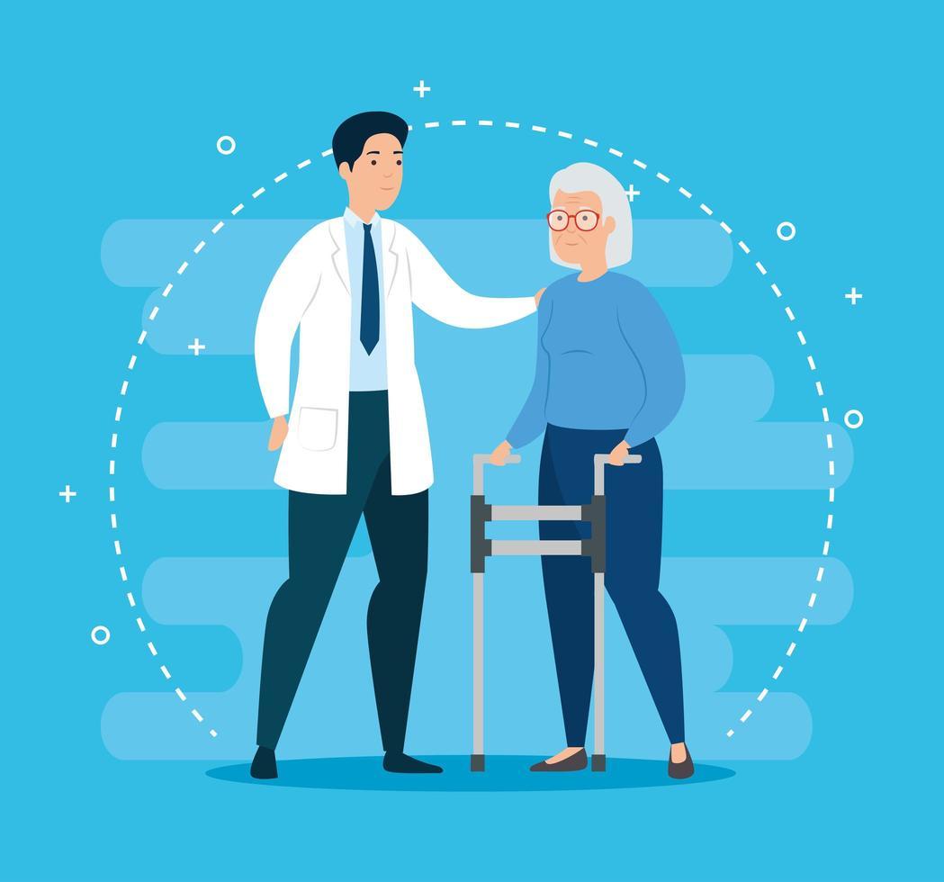 vecchia donna con girello e dottore vettore
