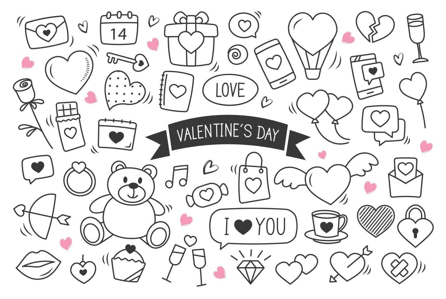 San Valentino disegnati a mano doodles oggetti e simboli. set di sfondo di amore ed elementi. vettore