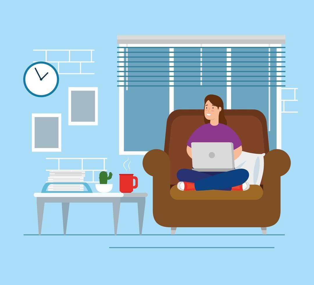 donna che lavora da casa in soggiorno vettore