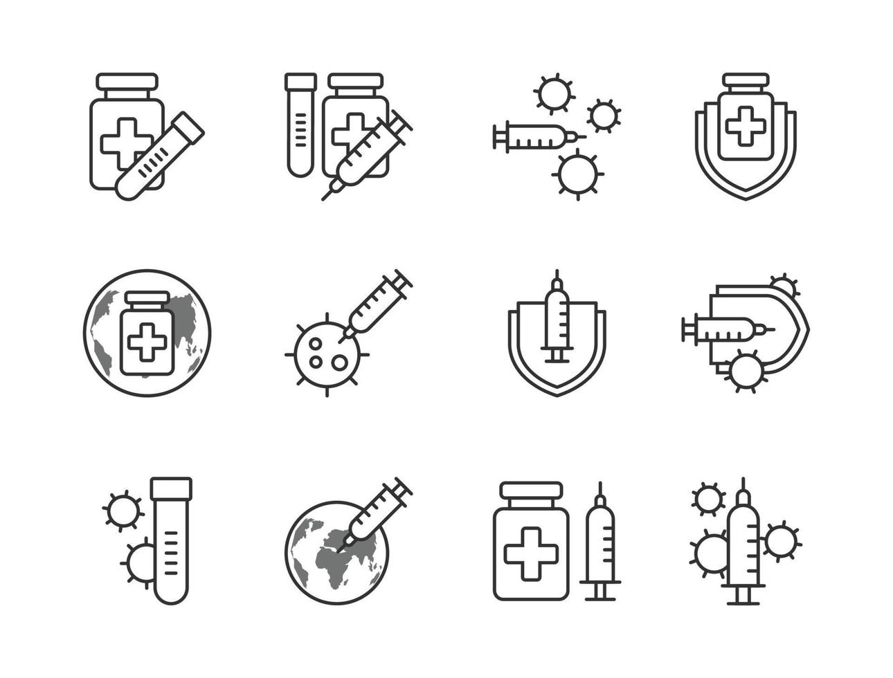 icona del vaccino covid-19 imposta lo stile del contorno. segno e simbolo per websit, stampa, adesivo, banner, poster. vettore