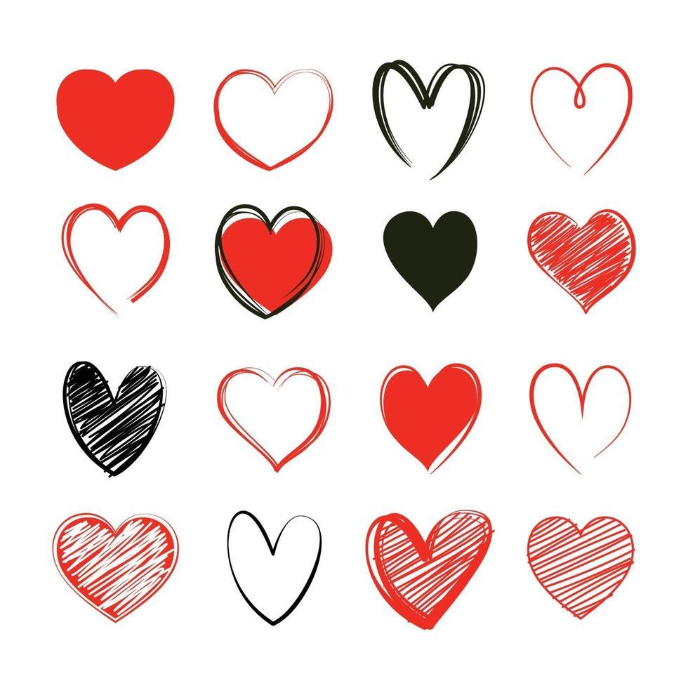 set di simboli di San Valentino cuore rosso. amore icona disegnata a mano isolati su sfondo bianco. vettore