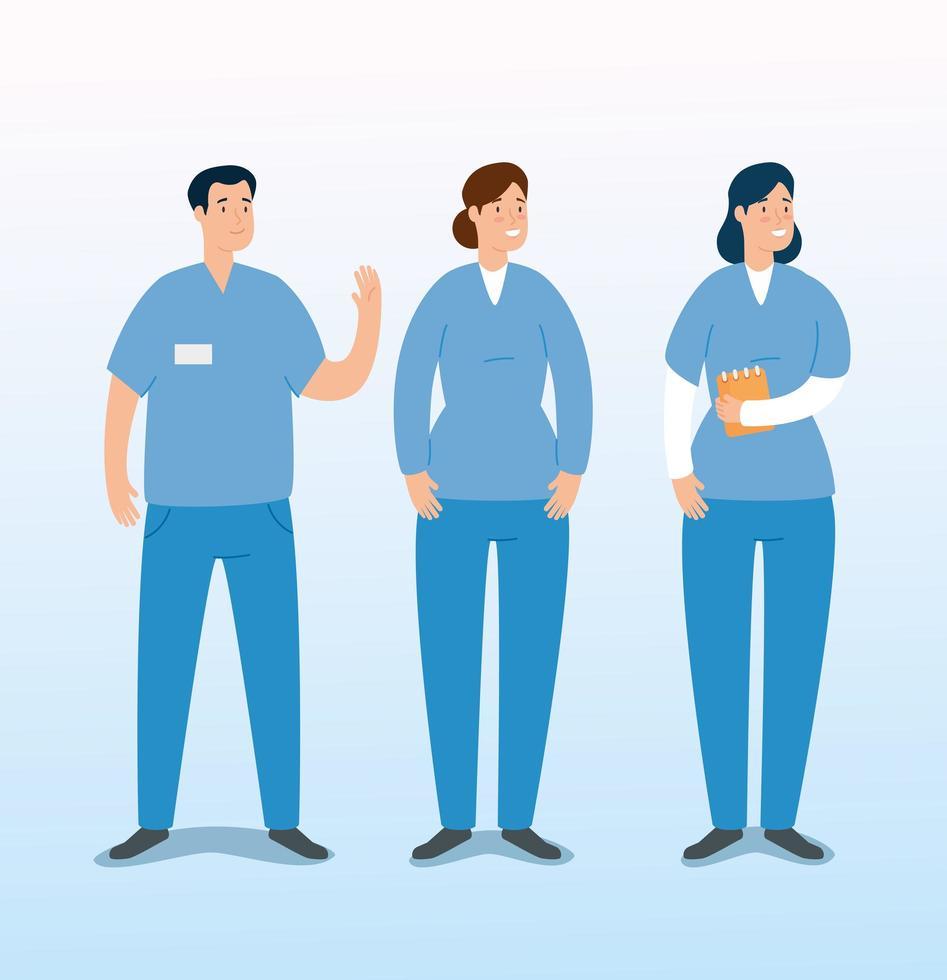 gruppo di personaggi avatar paramedici vettore